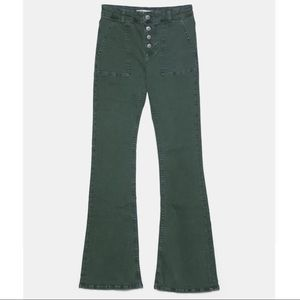 Zara Z1975 High Rise Button Fly Flared Jeans